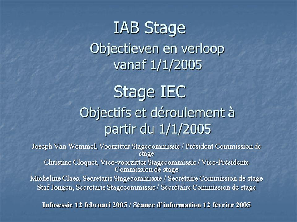IAB Stage Objectieven en verloop vanaf 1/1/2005 Stage IEC Objectifs et déroulement à partir du 1/1/2005 Joseph Van Wemmel, Voorzitter Stagecommissie / Président Commission de stage Christine Cloquet, Vice-voorzitter Stagecommissie / Vice-Présidente Commission de stage Micheline Claes, Secretaris Stagecommissie / Secrétaire Commission de stage Staf Jongen, Secretaris Stagecommissie / Secrétaire Commission de stage Infosessie 12 februari 2005 / Séance d'information 12 février 2005