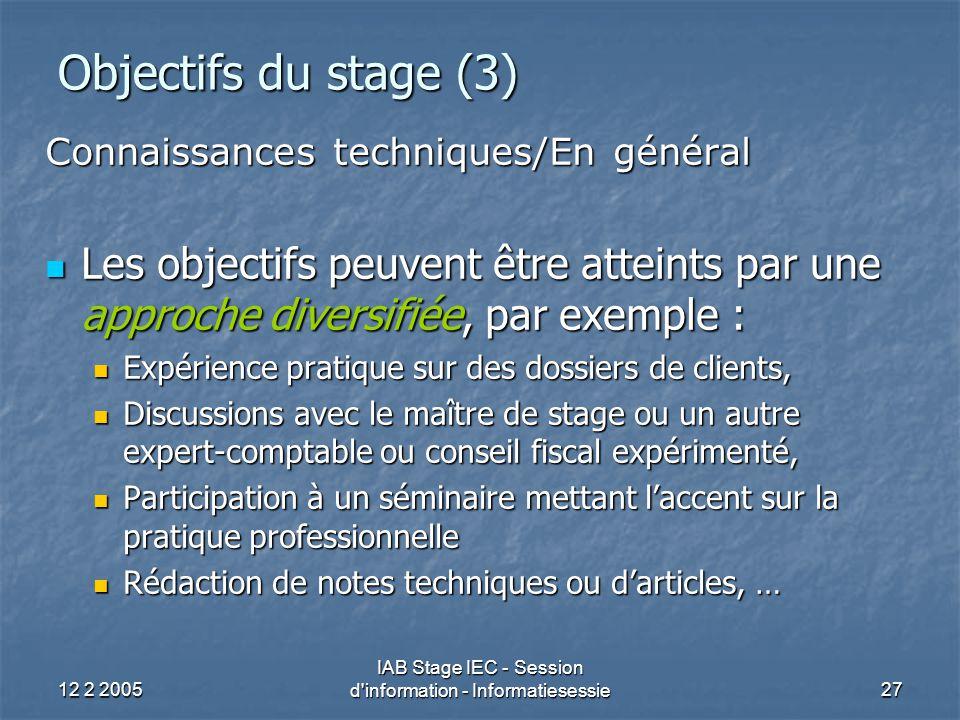 12 2 2005 IAB Stage IEC - Session d information - Informatiesessie27 Objectifs du stage (3) Connaissances techniques/En général Les objectifs peuvent être atteints par une approche diversifiée, par exemple : Les objectifs peuvent être atteints par une approche diversifiée, par exemple : Expérience pratique sur des dossiers de clients, Expérience pratique sur des dossiers de clients, Discussions avec le maître de stage ou un autre expert-comptable ou conseil fiscal expérimenté, Discussions avec le maître de stage ou un autre expert-comptable ou conseil fiscal expérimenté, Participation à un séminaire mettant l'accent sur la pratique professionnelle Participation à un séminaire mettant l'accent sur la pratique professionnelle Rédaction de notes techniques ou d'articles, … Rédaction de notes techniques ou d'articles, …