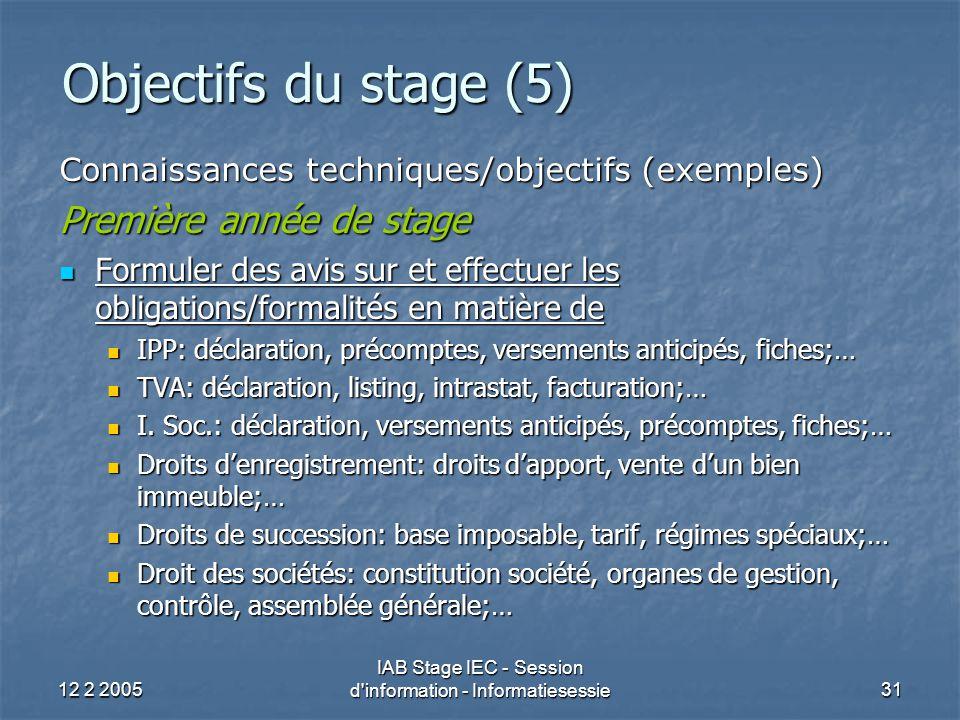 12 2 2005 IAB Stage IEC - Session d information - Informatiesessie31 Objectifs du stage (5) Connaissances techniques/objectifs (exemples) Première année de stage Formuler des avis sur et effectuer les obligations/formalités en matière de Formuler des avis sur et effectuer les obligations/formalités en matière de IPP: déclaration, précomptes, versements anticipés, fiches;… IPP: déclaration, précomptes, versements anticipés, fiches;… TVA: déclaration, listing, intrastat, facturation;… TVA: déclaration, listing, intrastat, facturation;… I.