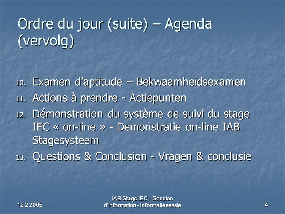 12 2 2005 IAB Stage IEC - Session d information - Informatiesessie4 Ordre du jour (suite) – Agenda (vervolg) 10.