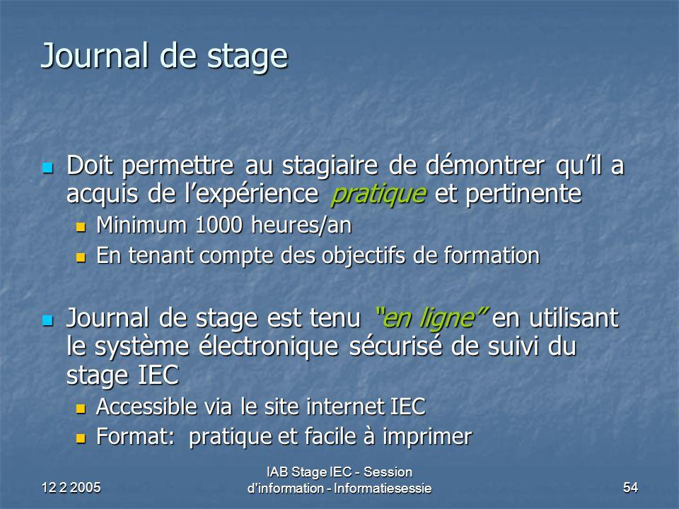 12 2 2005 IAB Stage IEC - Session d information - Informatiesessie54 Journal de stage Doit permettre au stagiaire de démontrer qu'il a acquis de l'expérience pratique et pertinente Doit permettre au stagiaire de démontrer qu'il a acquis de l'expérience pratique et pertinente Minimum 1000 heures/an Minimum 1000 heures/an En tenant compte des objectifs de formation En tenant compte des objectifs de formation Journal de stage est tenu en ligne en utilisant le système électronique sécurisé de suivi du stage IEC Journal de stage est tenu en ligne en utilisant le système électronique sécurisé de suivi du stage IEC Accessible via le site internet IEC Accessible via le site internet IEC Format: pratique et facile à imprimer Format: pratique et facile à imprimer