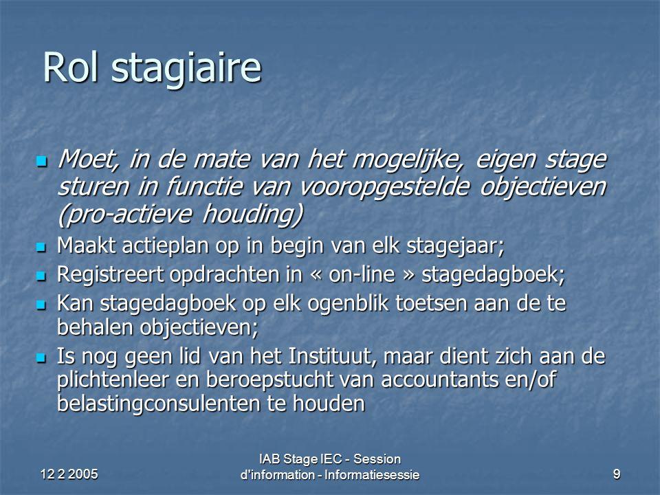 12 2 2005 IAB Stage IEC - Session d information - Informatiesessie10 Rôle du stagiaire Doit, dans la mesure du possible, mener son stage à bonne fin en fonction des objectifs prédéfinis Doit, dans la mesure du possible, mener son stage à bonne fin en fonction des objectifs prédéfinis Rédige un plan d'action au début de chaque année de stage Rédige un plan d'action au début de chaque année de stage Enregistre les missions accomplies dans le journal de stage électronique Enregistre les missions accomplies dans le journal de stage électronique Est en mesure, par la consultation du journal de stage, de vérifier à tout moment l'état d'achèvement des objectifs Est en mesure, par la consultation du journal de stage, de vérifier à tout moment l'état d'achèvement des objectifs N'est pas encore membre de l'Institut mais doit se conformer à la déontologie et à la discipline professionnelle de l'expert-comptable et/ou du conseil fiscal N'est pas encore membre de l'Institut mais doit se conformer à la déontologie et à la discipline professionnelle de l'expert-comptable et/ou du conseil fiscal