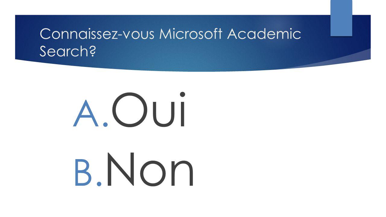 Connaissez-vous Microsoft Academic Search? A. Oui B. Non
