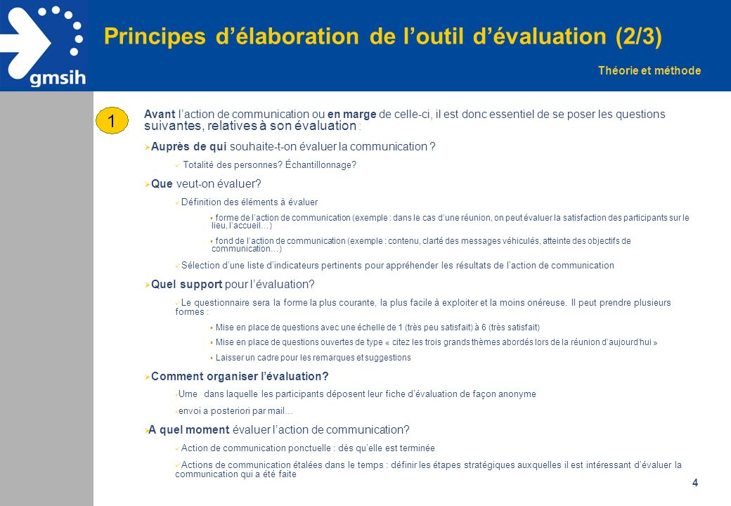 4 Principes d'élaboration de l'outil d'évaluation (2/3) Avant l'action de communication ou en marge de celle-ci, il est donc essentiel de se poser les