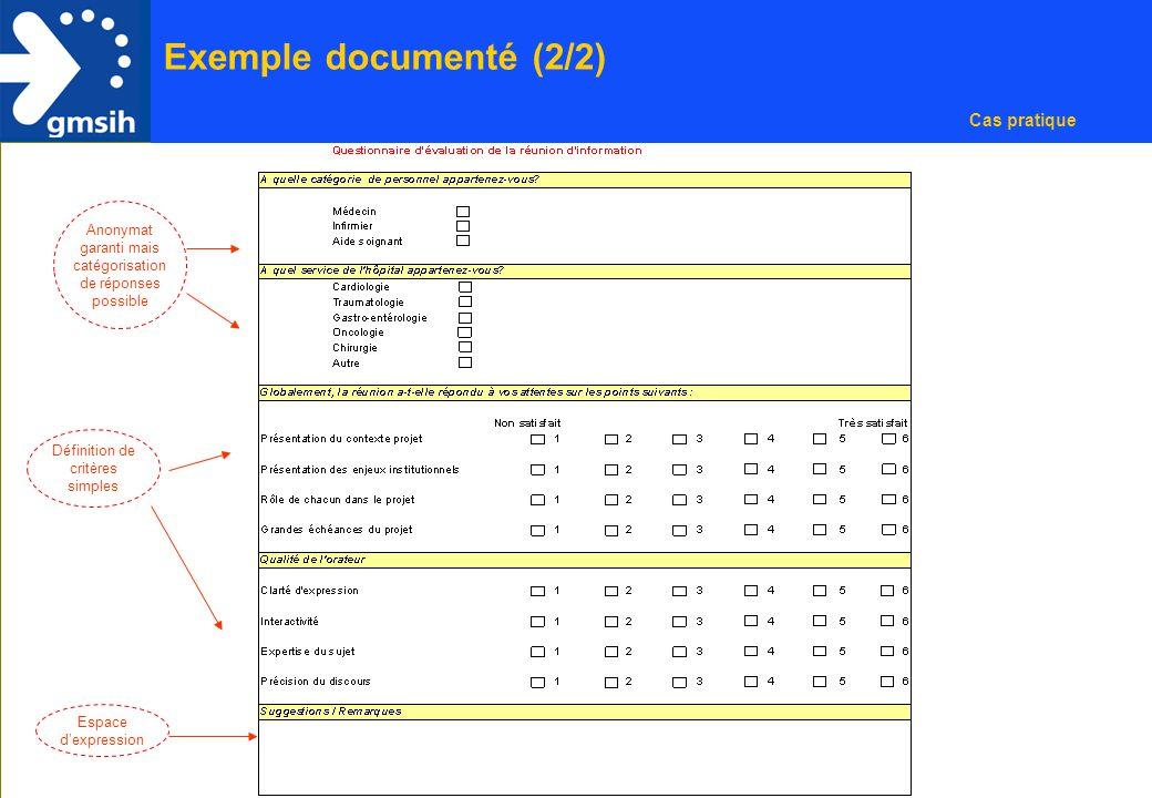 8 Exemple documenté (2/2) Cas pratique Anonymat garanti mais catégorisation de réponses possible Définition de critères simples Espace d'expression