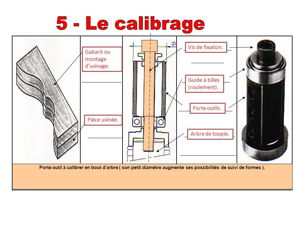 Porte outil à calibrer en bout d'arbre ( son petit diamètre augmente ses possibilités de suivi de formes ). Vis de fixation. Gabarit ou montage d'usin