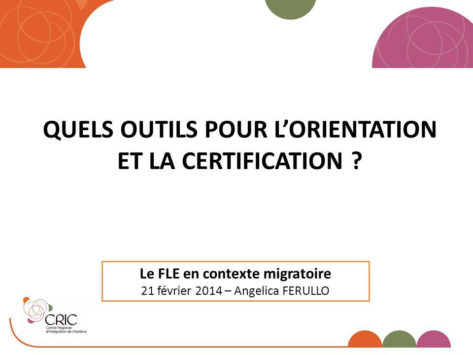 QUELS OUTILS POUR L'ORIENTATION ET LA CERTIFICATION ? Le FLE en contexte migratoire 21 février 2014 – Angelica FERULLO
