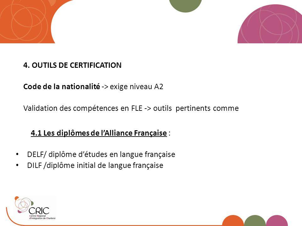 4. OUTILS DE CERTIFICATION Code de la nationalité -> exige niveau A2 Validation des compétences en FLE -> outils pertinents comme 4.1 Les diplômes de