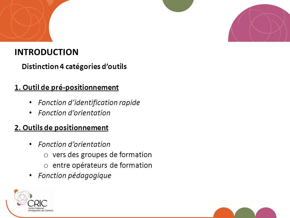 INTRODUCTION Distinction 4 catégories d'outils 1. Outil de pré-positionnement Fonction d'identification rapide Fonction d'orientation 2. Outils de pos