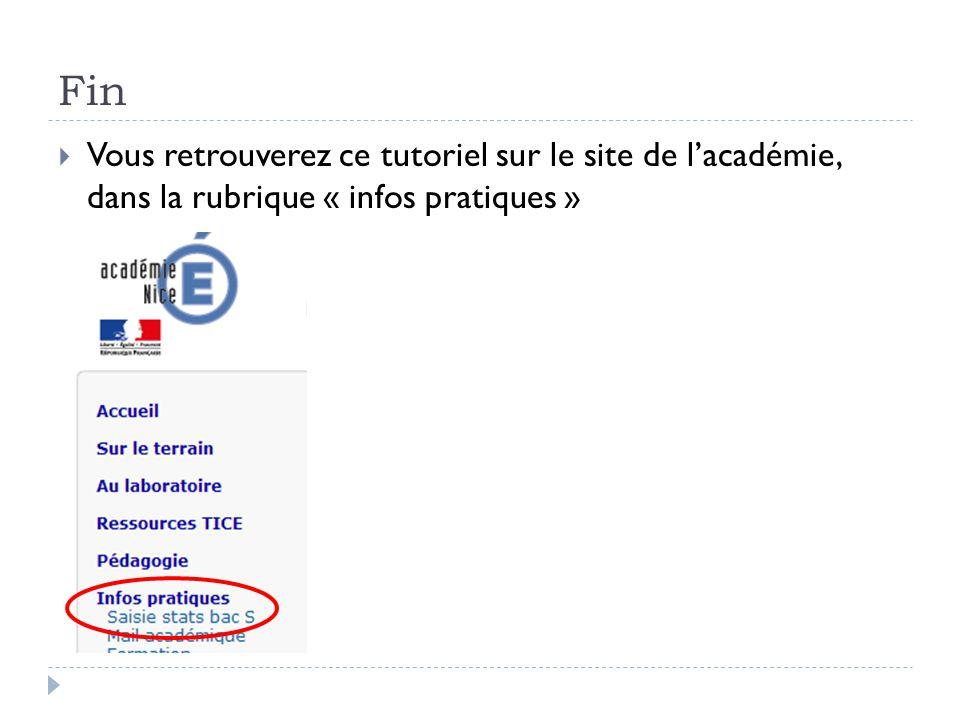 Fin  Vous retrouverez ce tutoriel sur le site de l'académie, dans la rubrique « infos pratiques »