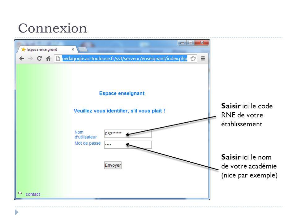 Connexion Saisir ici le code RNE de votre établissement Saisir ici le nom de votre académie (nice par exemple)