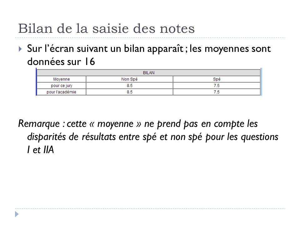 Bilan de la saisie des notes  Sur l'écran suivant un bilan apparaît ; les moyennes sont données sur 16 Remarque : cette « moyenne » ne prend pas en c