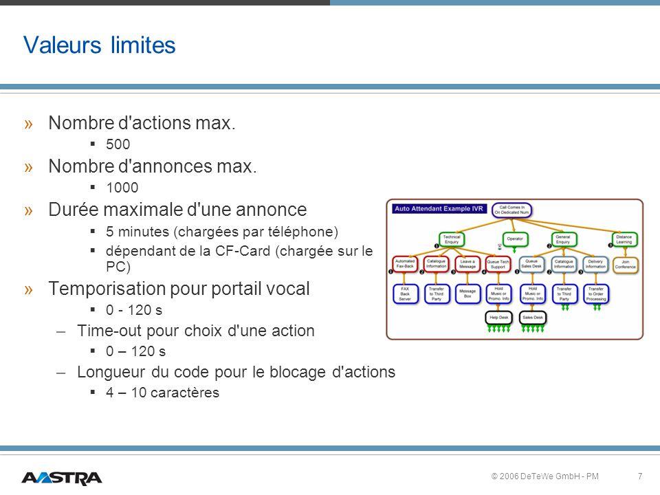 7© 2006 DeTeWe GmbH - PM Valeurs limites »Nombre d actions max.