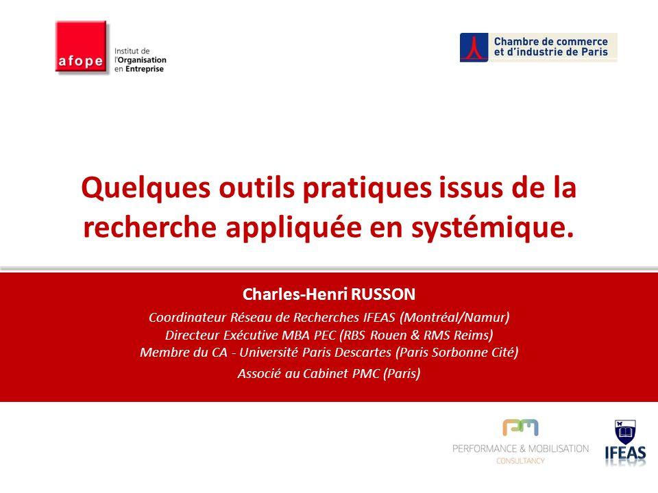 Quelques outils pratiques issus de la recherche appliquée en systémique. Charles-Henri RUSSON Coordinateur Réseau de Recherches IFEAS (Montréal/Namur)