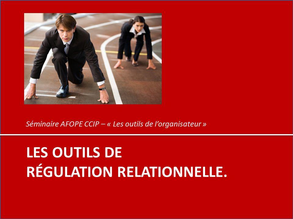 LES OUTILS DE RÉGULATION RELATIONNELLE. Séminaire AFOPE CCIP – « Les outils de l'organisateur »