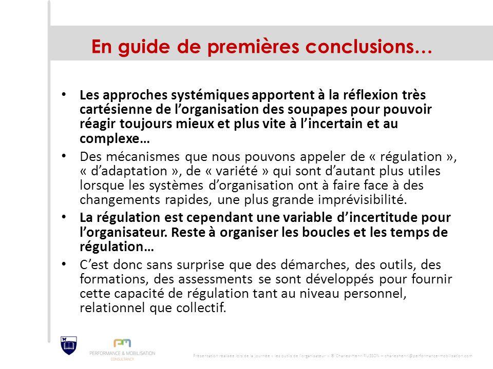En guide de premières conclusions… Les approches systémiques apportent à la réflexion très cartésienne de l'organisation des soupapes pour pouvoir réa