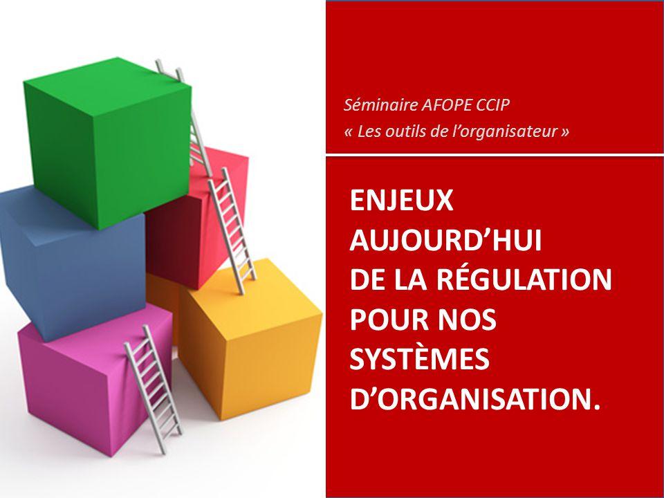 ENJEUX AUJOURD'HUI DE LA RÉGULATION POUR NOS SYSTÈMES D'ORGANISATION. Séminaire AFOPE CCIP « Les outils de l'organisateur »