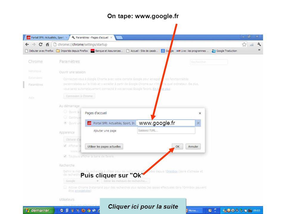 4 – cliquer dans le champ de la page d'accueil et remplacer le site existant par Google Nota : Bien cliquer au niveau de la page d'accueil et non au n