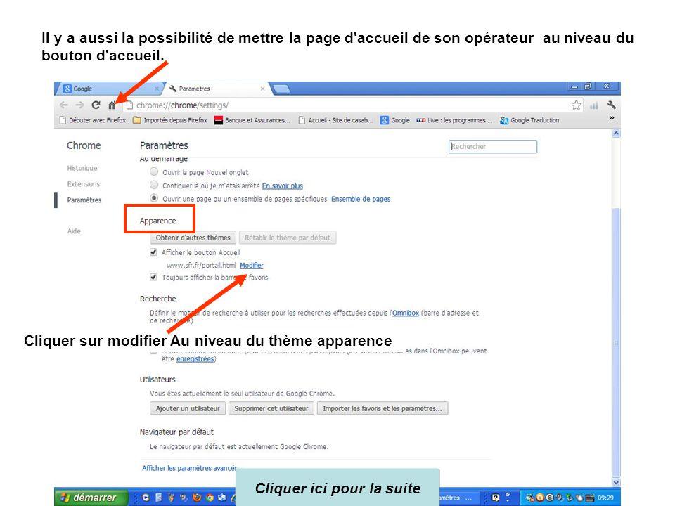 Il y a aussi la possibilité de mettre la page d accueil de son opérateur au niveau du bouton d accueil.