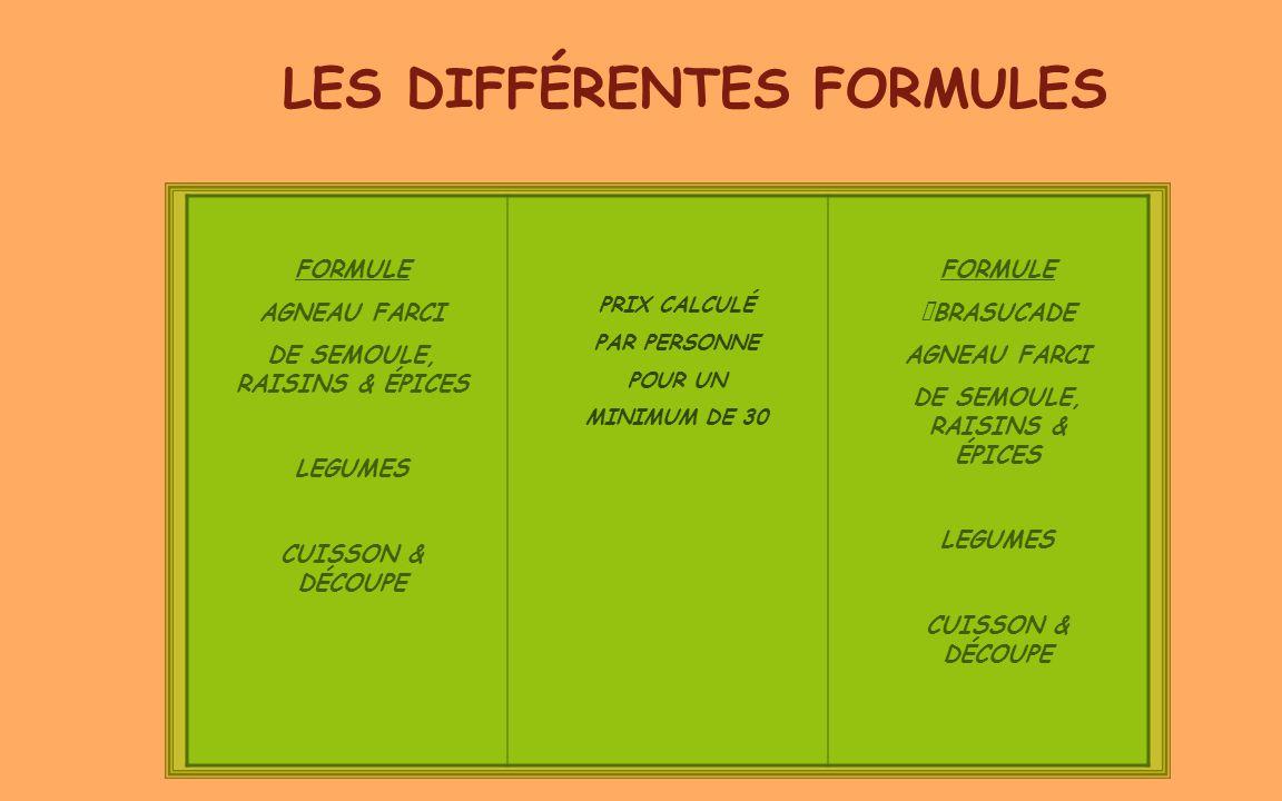 LES DIFFÉRENTES FORMULES FORMULE AGNEAU FARCI DE SEMOULE, RAISINS & ÉPICES LEGUMES CUISSON & DÉCOUPE PRIX CALCULÉ PAR PERSONNE POUR UN MINIMUM DE 30 F