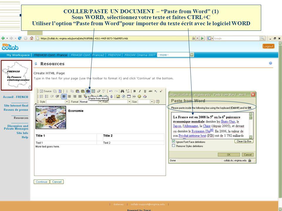 """COLLER/PASTE UN DOCUMENT – """"Paste from Word"""" (1) Sous WORD, sélectionnez votre texte et faites CTRL+C Utiliser l'option """"Paste from Word""""pour importer"""