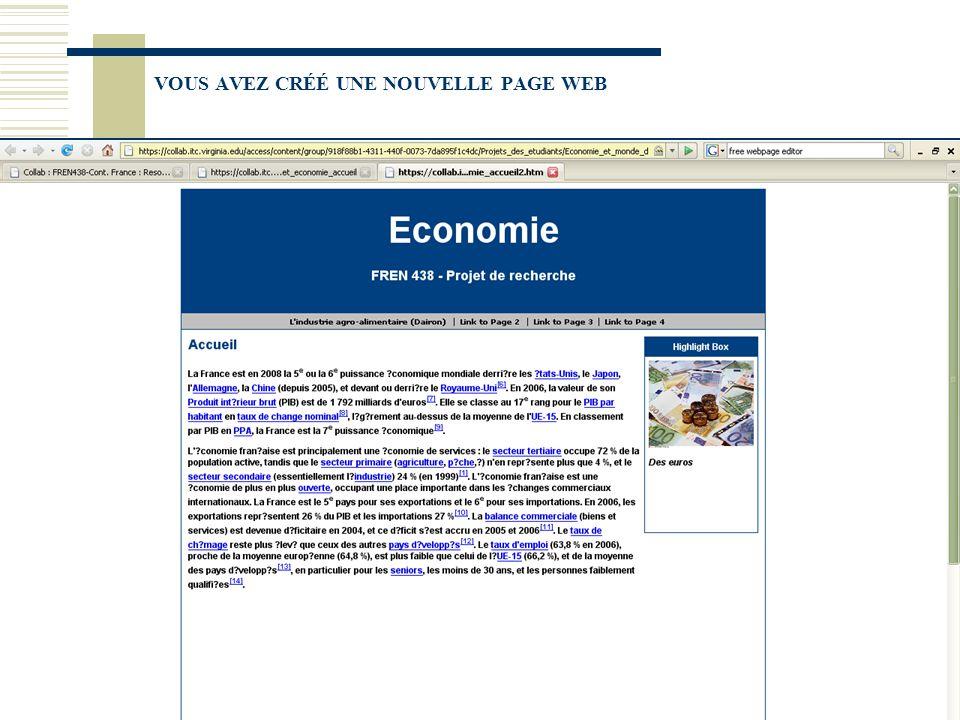 VOUS AVEZ CRÉÉ UNE NOUVELLE PAGE WEB