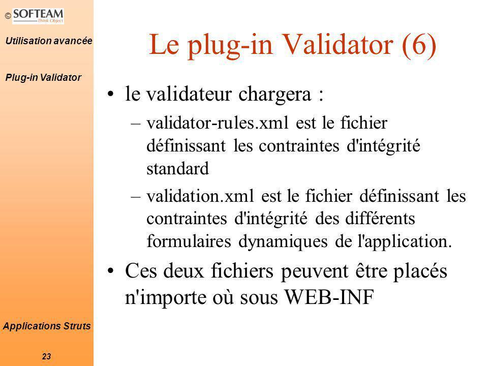 © 23 Utilisation avancée Applications Struts Le plug-in Validator (6) le validateur chargera : –validator-rules.xml est le fichier définissant les contraintes d intégrité standard –validation.xml est le fichier définissant les contraintes d intégrité des différents formulaires dynamiques de l application.