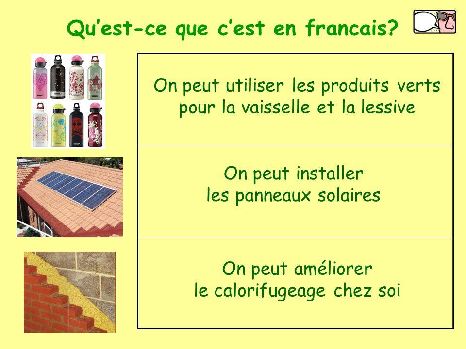 Get a Voki now! Qu'est-ce que c'est en francais? On peut utiliser les produits verts pour la vaisselle et la lessive On peut installer les panneaux so