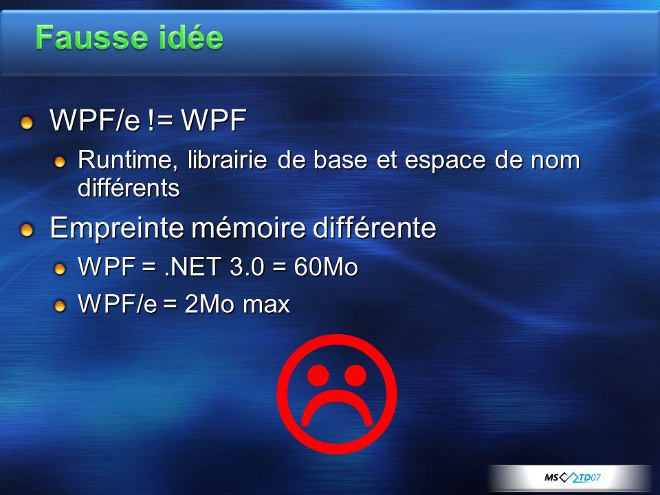 WPF/e != WPF Runtime, librairie de base et espace de nom différents Empreinte mémoire différente WPF =.NET 3.0 = 60Mo WPF/e = 2Mo max 