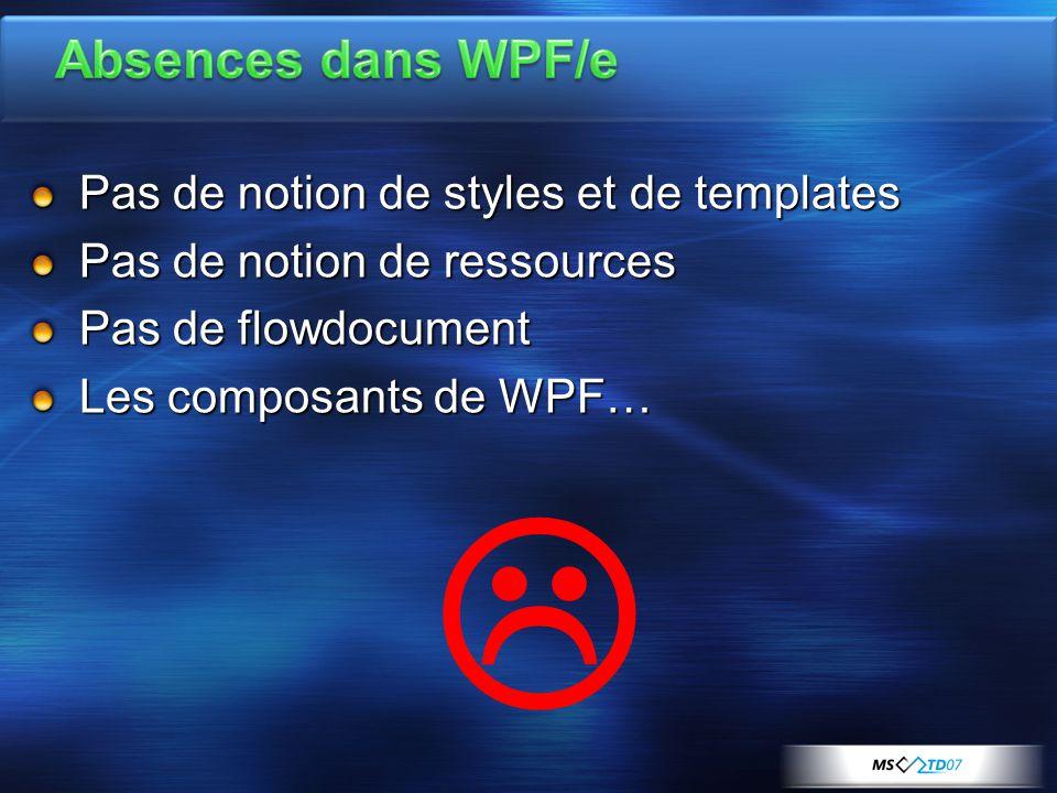 Pas de notion de styles et de templates Pas de notion de ressources Pas de flowdocument Les composants de WPF… 