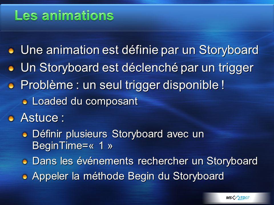 Une animation est définie par un Storyboard Un Storyboard est déclenché par un trigger Problème : un seul trigger disponible .