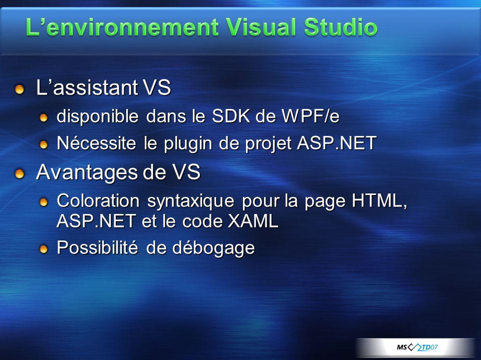 L'assistant VS disponible dans le SDK de WPF/e Nécessite le plugin de projet ASP.NET Avantages de VS Coloration syntaxique pour la page HTML, ASP.NET et le code XAML Possibilité de débogage