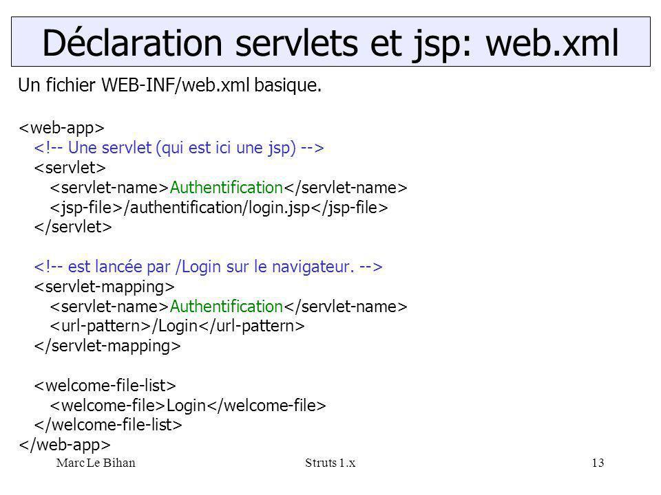 Marc Le BihanStruts 1.x13 Un fichier WEB-INF/web.xml basique. Authentification /authentification/login.jsp Authentification /Login Login Déclaration s