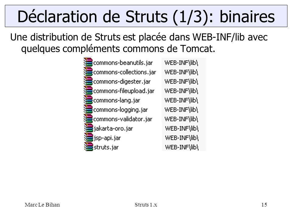 Marc Le BihanStruts 1.x15 Déclaration de Struts (1/3): binaires Une distribution de Struts est placée dans WEB-INF/lib avec quelques compléments commo