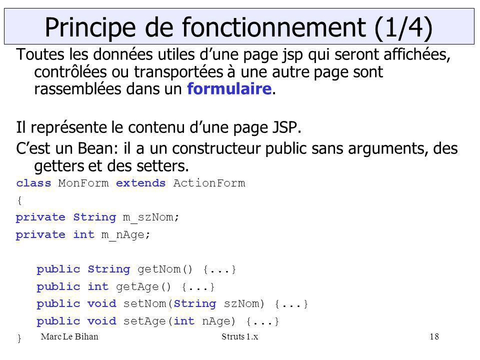 Marc Le BihanStruts 1.x18 Toutes les données utiles d'une page jsp qui seront affichées, contrôlées ou transportées à une autre page sont rassemblées