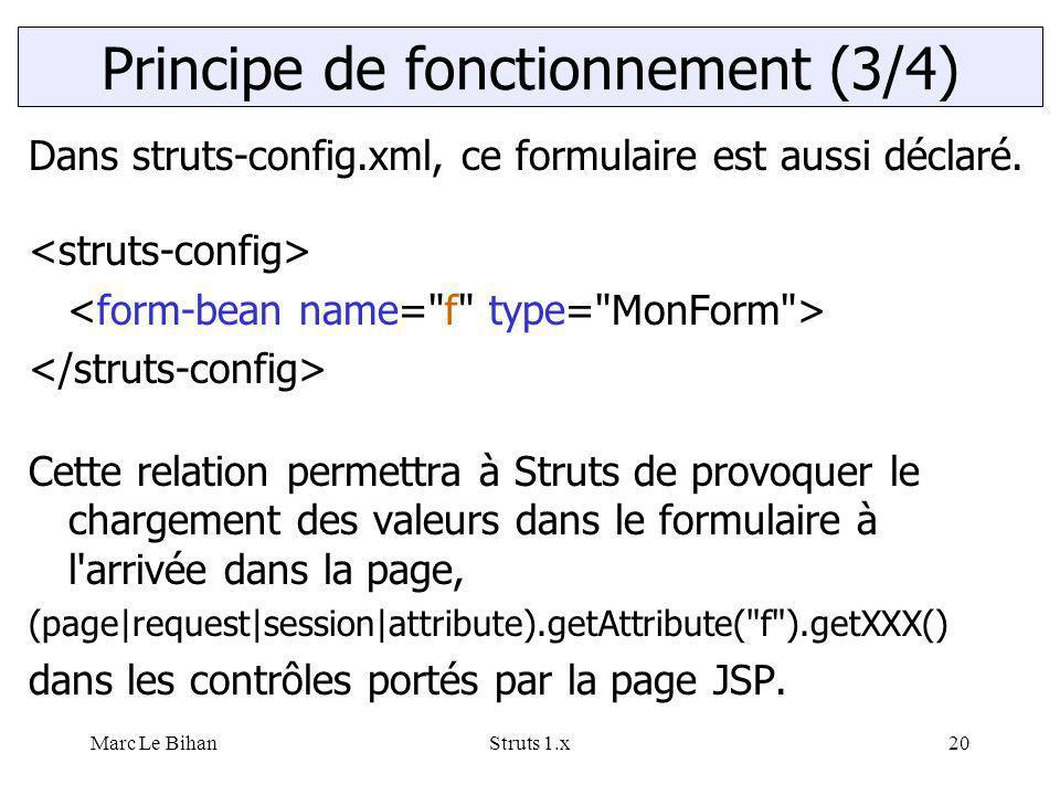 Marc Le BihanStruts 1.x20 Dans struts-config.xml, ce formulaire est aussi déclaré. Cette relation permettra à Struts de provoquer le chargement des va