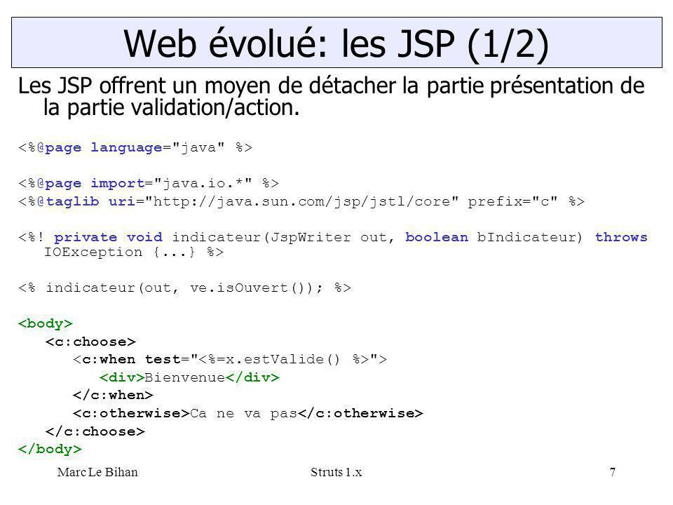 Marc Le BihanStruts 1.x7 Les JSP offrent un moyen de détacher la partie présentation de la partie validation/action.