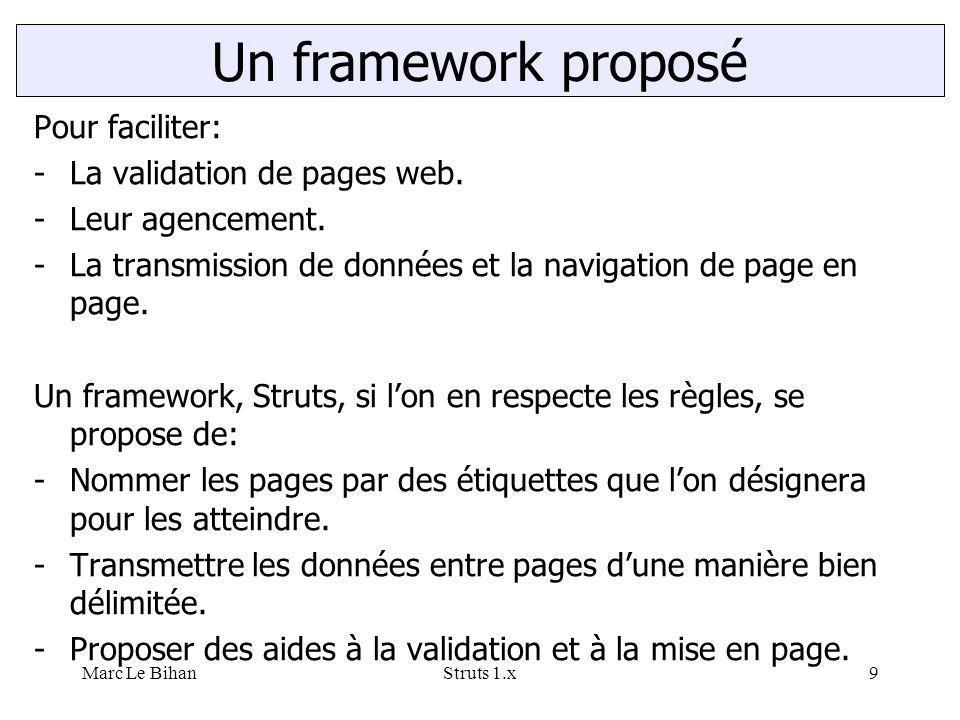 Marc Le BihanStruts 1.x9 Pour faciliter: -La validation de pages web. -Leur agencement. -La transmission de données et la navigation de page en page.