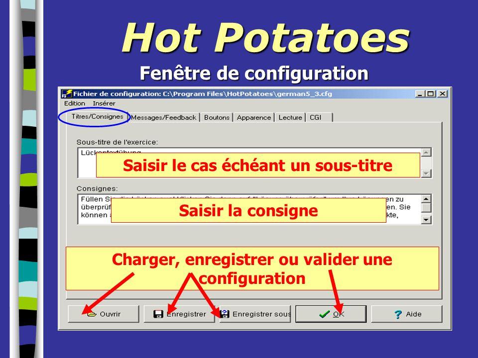 Hot Potatoes Saisir le cas échéant un sous-titre Saisir la consigne Charger, enregistrer ou valider une configuration Fenêtre de configuration