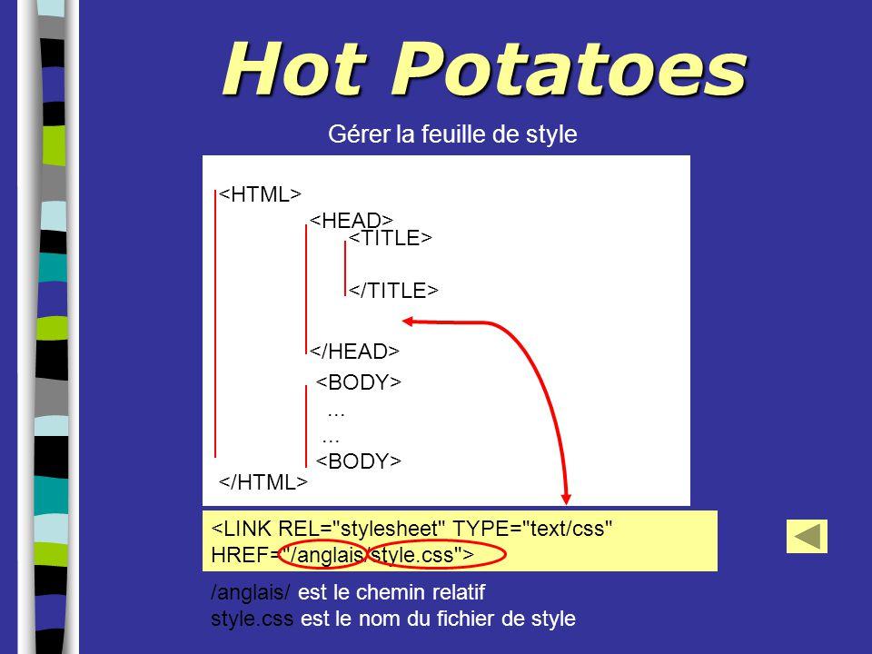Hot Potatoes Gérer la feuille de style... /anglais/ est le chemin relatif style.css est le nom du fichier de style