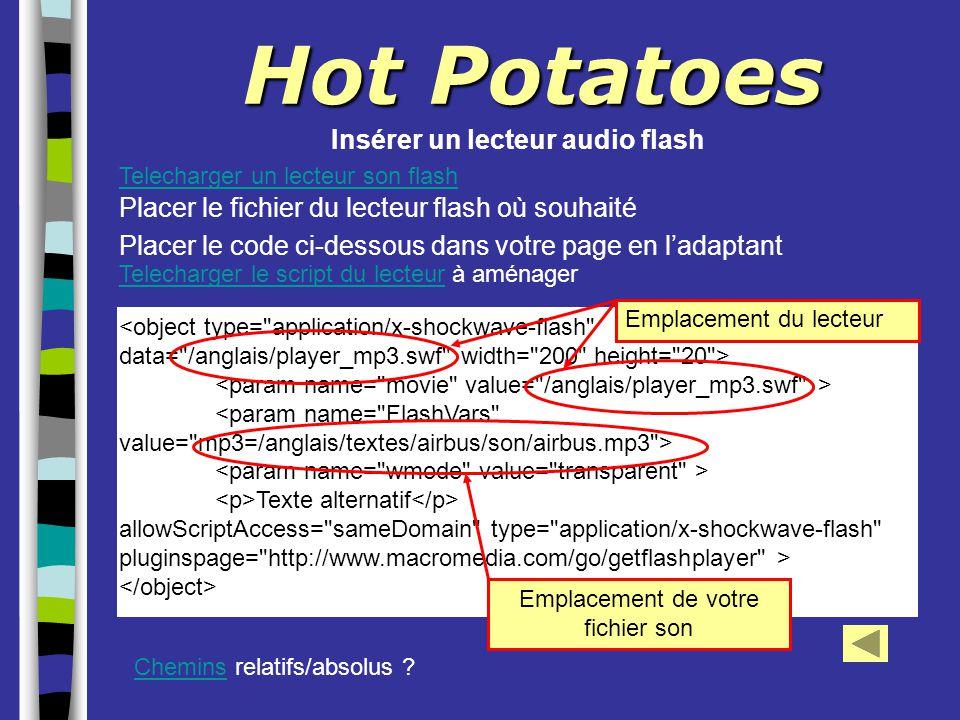Hot Potatoes Insérer un lecteur audio flash Texte alternatif allowScriptAccess=