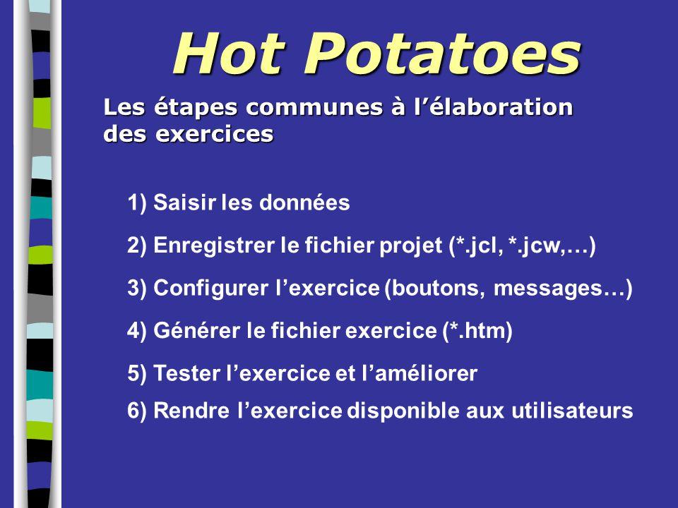 Hot Potatoes Les étapes communes à l'élaboration des exercices 1) Saisir les données 2) Enregistrer le fichier projet (*.jcl, *.jcw,…) 3) Configurer l