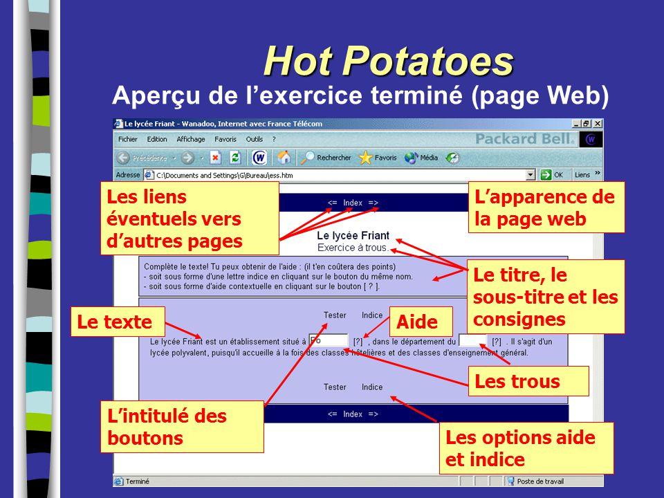 Hot Potatoes L'apparence de la page web Les liens éventuels vers d'autres pages L'intitulé des boutons Les options aide et indice Aperçu de l'exercice