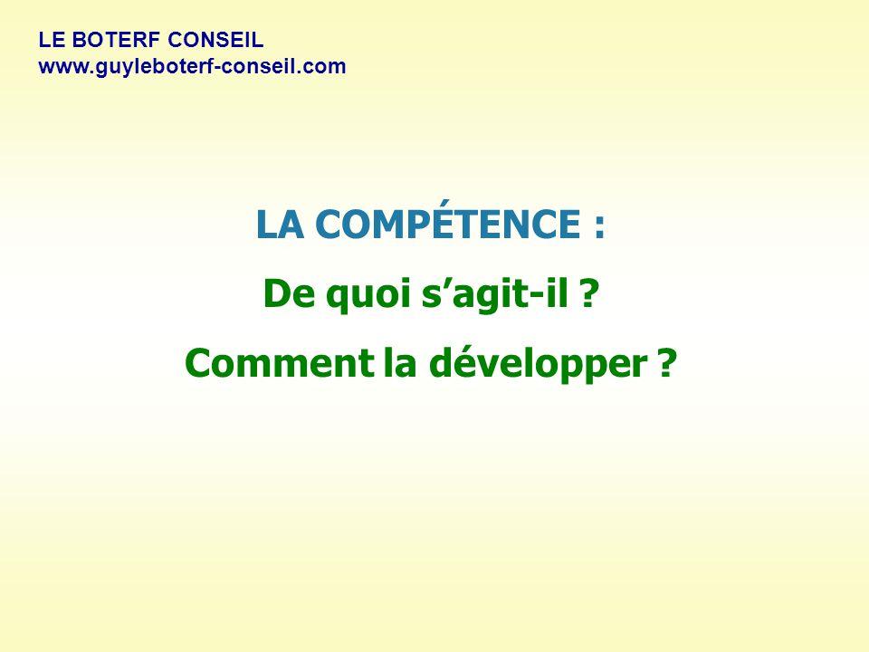 LA COMPÉTENCE : De quoi s'agit-il .Comment la développer .