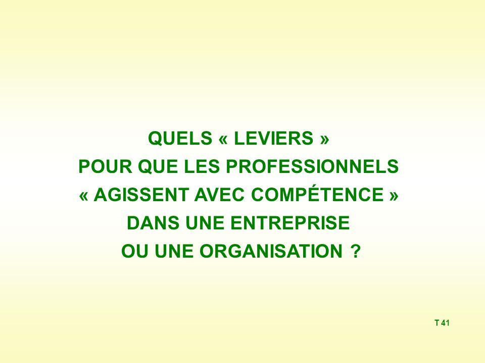 QUELS « LEVIERS » POUR QUE LES PROFESSIONNELS « AGISSENT AVEC COMPÉTENCE » DANS UNE ENTREPRISE OU UNE ORGANISATION .