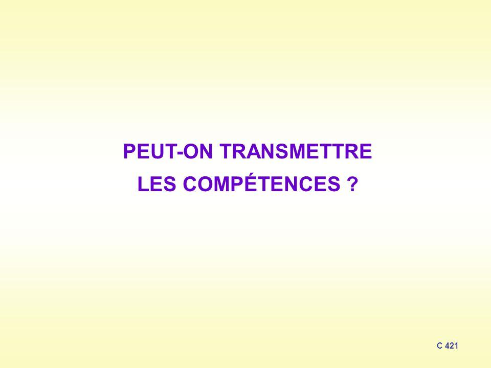 PEUT-ON TRANSMETTRE LES COMPÉTENCES ? C 421