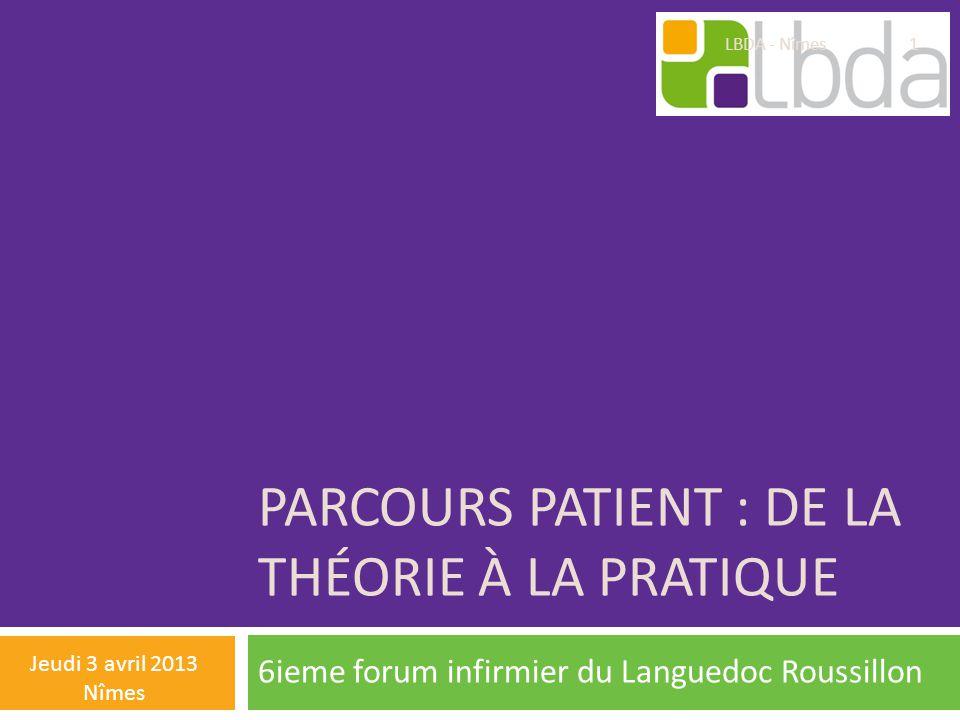 PARCOURS PATIENT : DE LA THÉORIE À LA PRATIQUE 6ieme forum infirmier du Languedoc Roussillon Jeudi 3 avril 2013 Nîmes LBDA - Nîmes 1