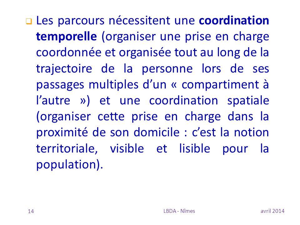 avril 2014LBDA - Nîmes 14  Les parcours nécessitent une coordination temporelle (organiser une prise en charge coordonnée et organisée tout au long d