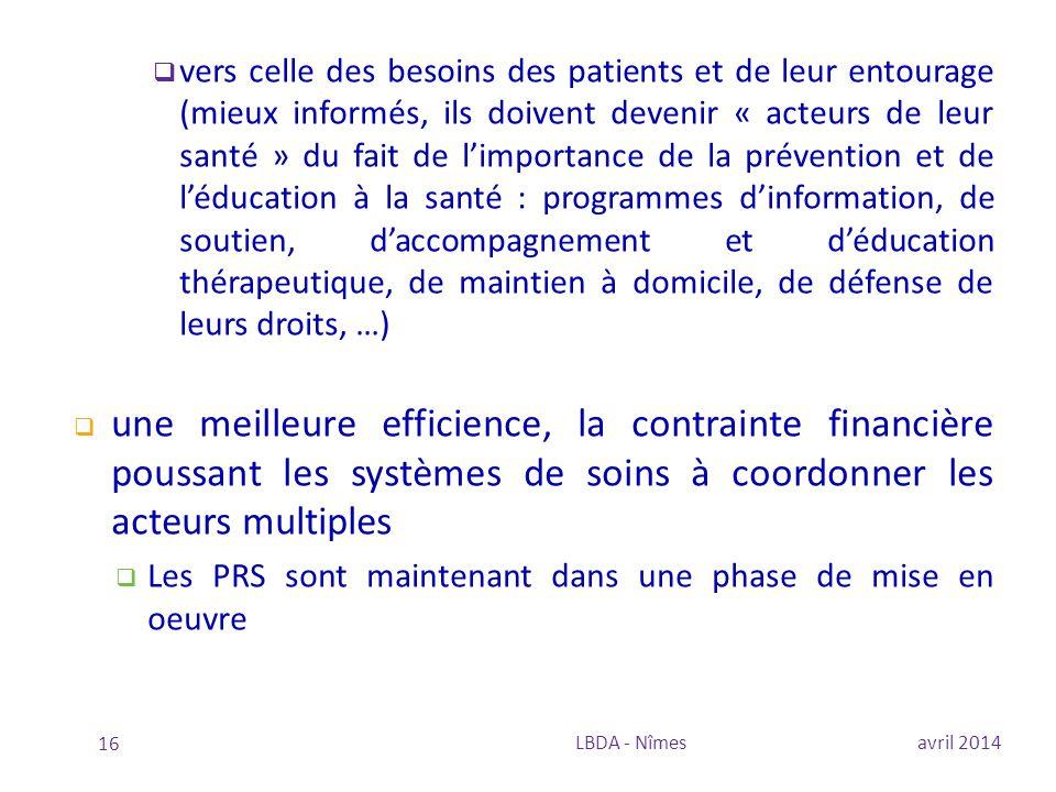  vers celle des besoins des patients et de leur entourage (mieux informés, ils doivent devenir « acteurs de leur santé » du fait de l'importance de l