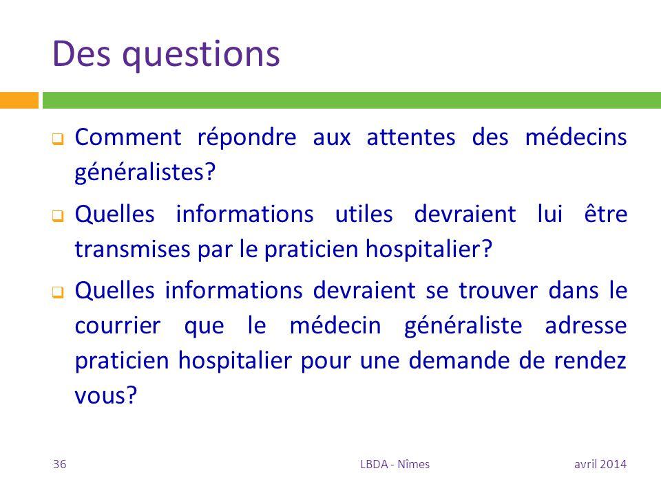 Des questions  Comment répondre aux attentes des médecins généralistes?  Quelles informations utiles devraient lui être transmises par le praticien